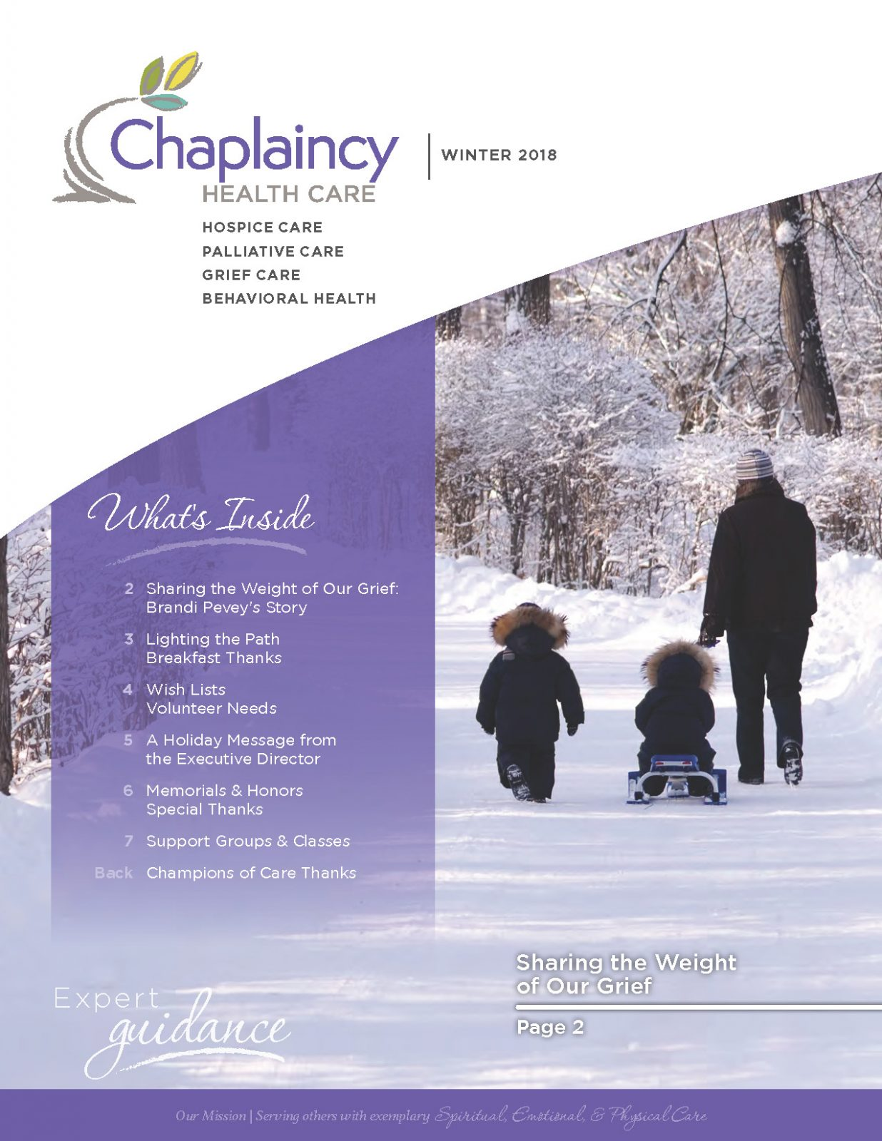 Chaplaincy Health Care Winter 2018 Newsletter